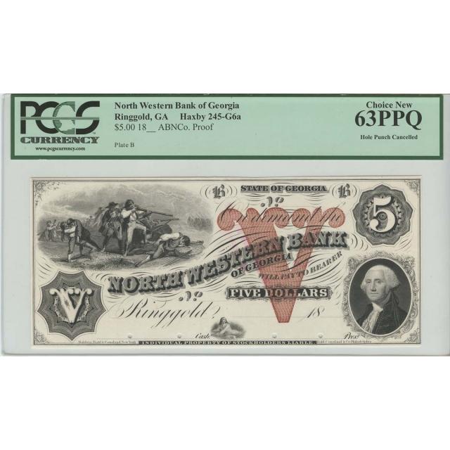 18__ $5 North Western Bank of Georgia Ringold GA Proof PMG 63PPQ Choice New