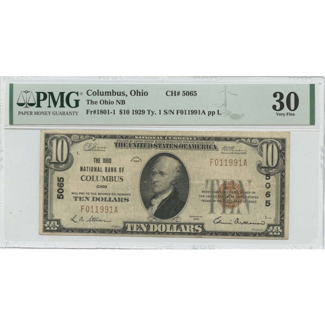 1929 Ty.1 $10 Columbus Ohio NB CH#5065 PMG VF30