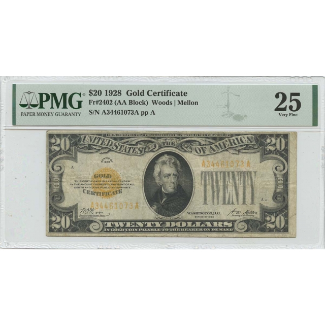 1928 $20 Gold Certificate  Fr# 2402 PMG VF25