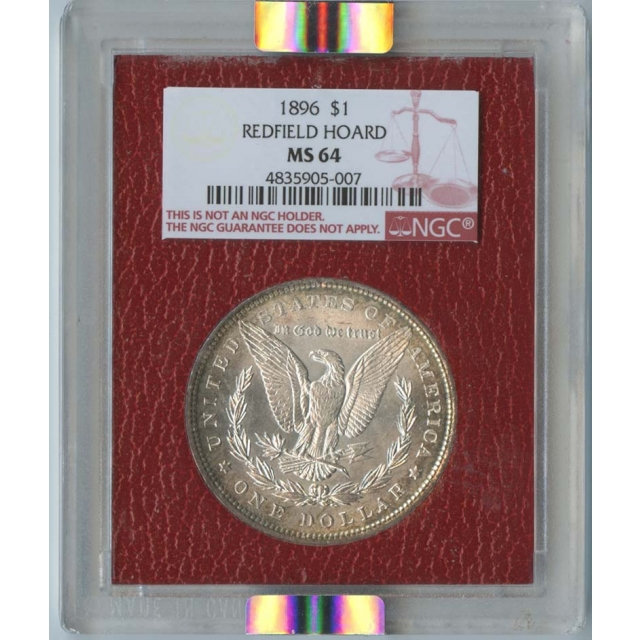 1896 $1Morgan Silver Dollar NGC MS64 Redfield Collection