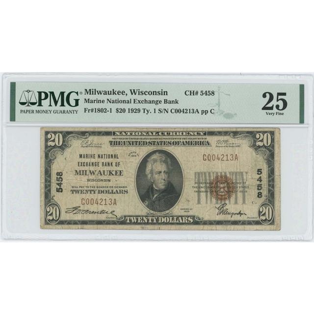 1929 TY 1 $20 Marine NB Milwaukee Wisconsin CH# 5458 PMG VF 25