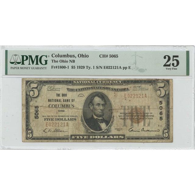 1929 Ty.1 $5 Columbus OH  Ohio NB CH#5065 PMG VF25