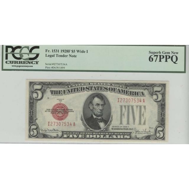 1928F $5 Legal Tender Note PCGS 67 Superb Gem New PPQ Wide1