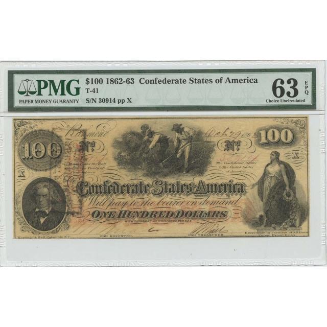 $100 1862-63 Confederate States T-41 PMG 63 CH UNC EPQ
