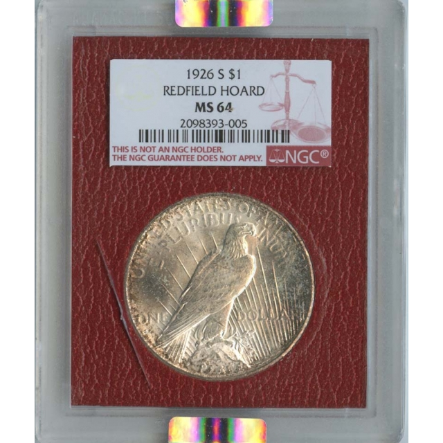 1926-S $1Peace Silver Dollar Redfield Hoard NGC MS64