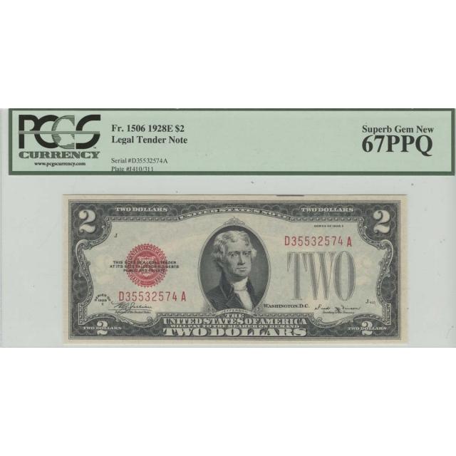 1928E $2 Legal Tender note PCGS 67 Superb Gem New PPQ