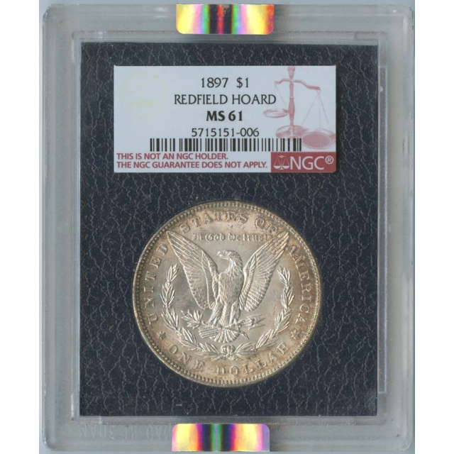 1897 $1 Redfield Collection Morgan Dollar NGC MS61 Black