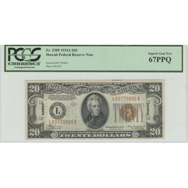 1934A $20 Hawaii WW2 PCGS 67 SUPERB GEM PPQ FR#2305