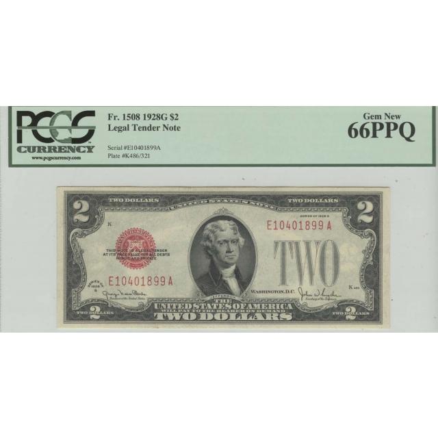 1928G $2 FR# 1508 Legal Tender PCGS 66 Gem New PPQ