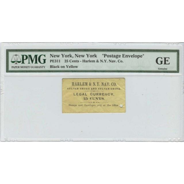 Postage Stamp Envelope Harlem 25 Cents PMG Genuine N.Y. Nav PE 311