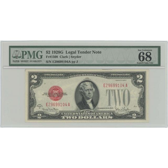 1928G $2 Legal Tender FR#1508 PMG 68 EPQ Superb Gem