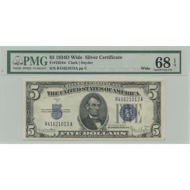 1934D $5 Silver Cert FR#1654w PMG 68 Superb Gem UNC EPQ Wide