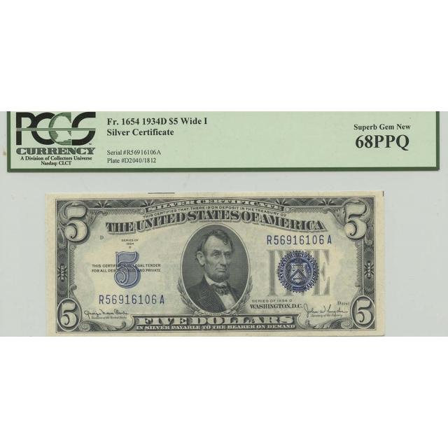 1934D $5 Silver Cert FR#1654 PCGS 68 Superb Gem PPQ Wide I