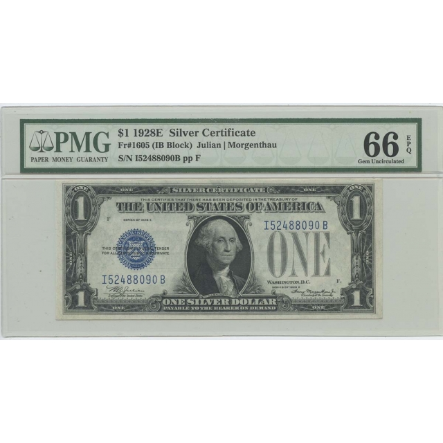 1928E $1 Silver Cert (IBBlock) FR#1605 PMG 66 Gem UNC EPQ