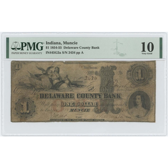 1854-55 $1 Indiana Muncie Delaware C. Bank Obsolete PMG VG10 Rare Note