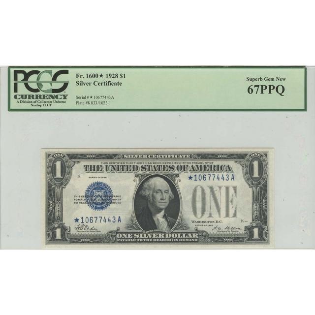 1928 $1 Silver Certificate Star FR 1600* PCGS Superb Gem 67 PPQ