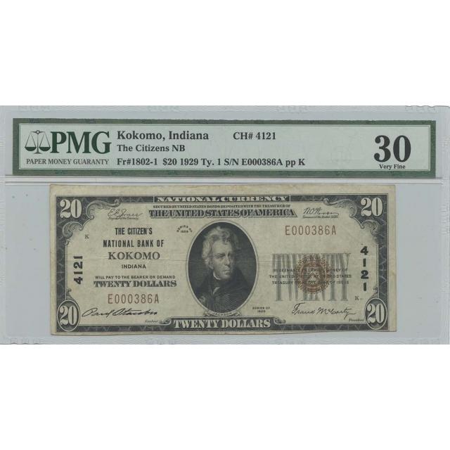 1929 Ty. 1 $20 Citizens NB Kokomo IN Fr# 1802-1 PMG Very Fine 30