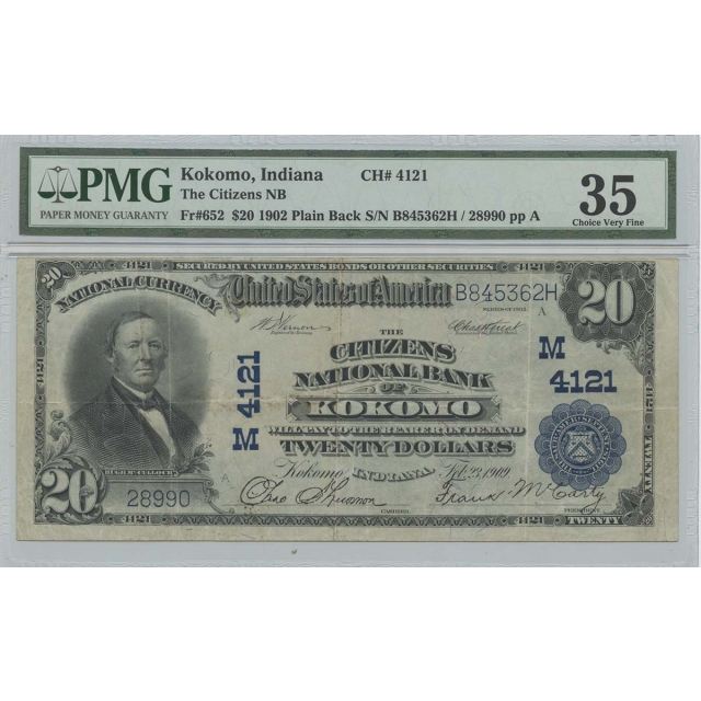 1902 $20 Citizens NB Kokomo IN CH#4121 PMG CH VF35