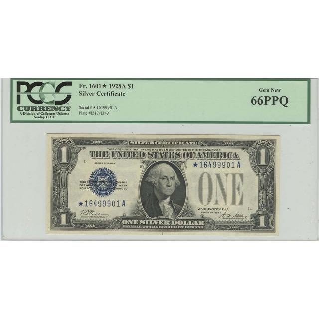 1928A $1 Silver Certificate Star FR# 1601* PCGS GEM 66 PPQ