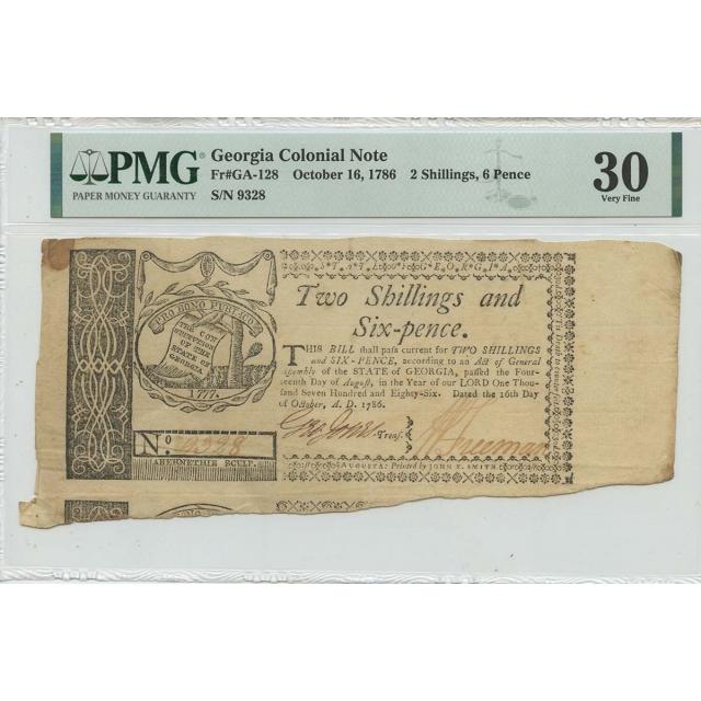 1786 6 Pence 2 Shillings Georgia Colonial GA-128 PMG VF30