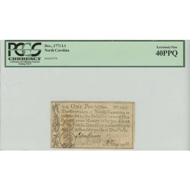 North Carolina Colonial Note Dec, 1771 1 Pound PCGS 40 Extremely Fine PPQ