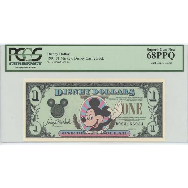 1991 $1 Disney Dollar Mickey Castle Back PCGS 68 PPQ SUPERB GEM Walt Disney