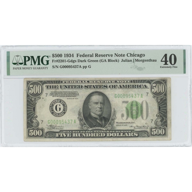 1934 $500 Federal Reserve Note Chicago Dark Green 2201-Gdgs PMG XF40