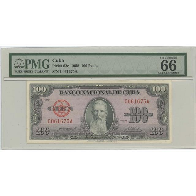 1958 100 Pesos Cuba Pick#82c PMG 66 Gem UNC EPQ