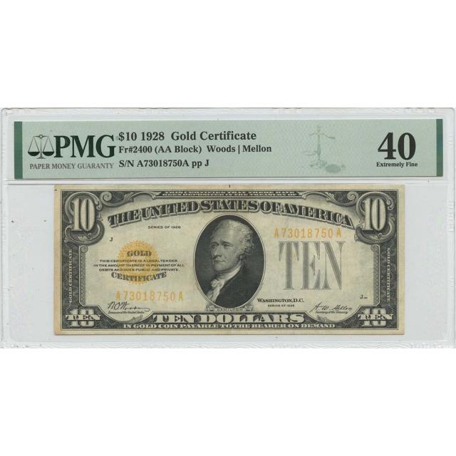 1928 $10 Gold Certificate Fr# 2400 PMG EF40