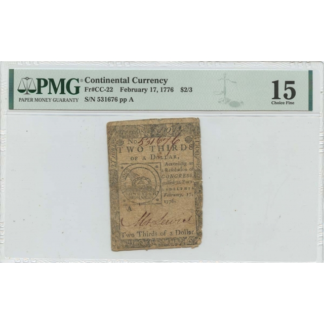1776 February 17 $2/3 Continental Currency Fugio CC-22 PMG F15