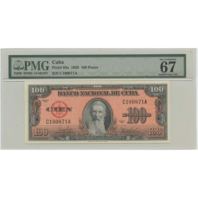 1959 100 Pesos Cuba Pick#93a PMG 67 Superb Gem UNC EPQ
