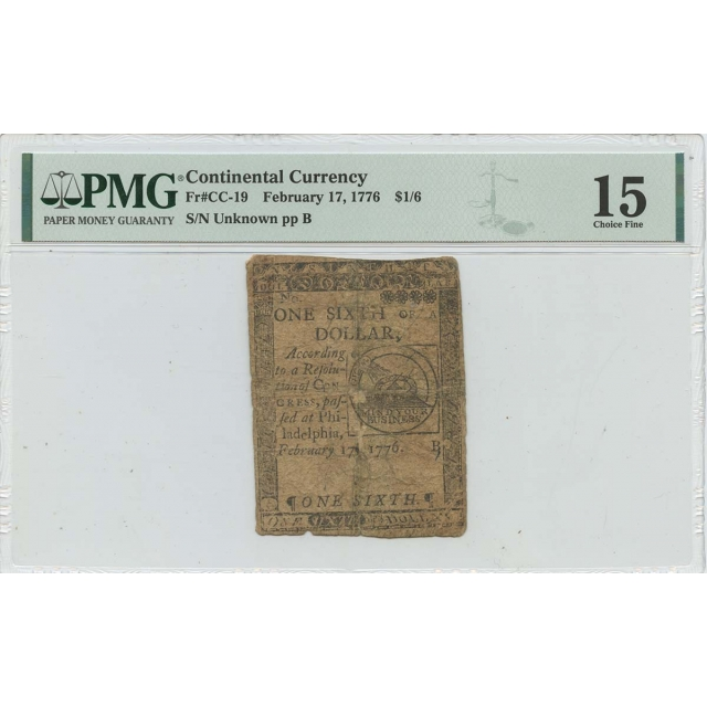 1776 February 17 $1/6 Continental Currency Fugio CC-19 PMG F15