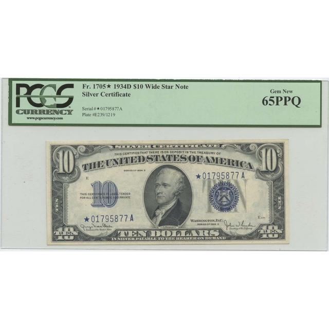 1934D $10 Silver Certificate Star FR#1705* PCGS 65PPQ Gem Wide