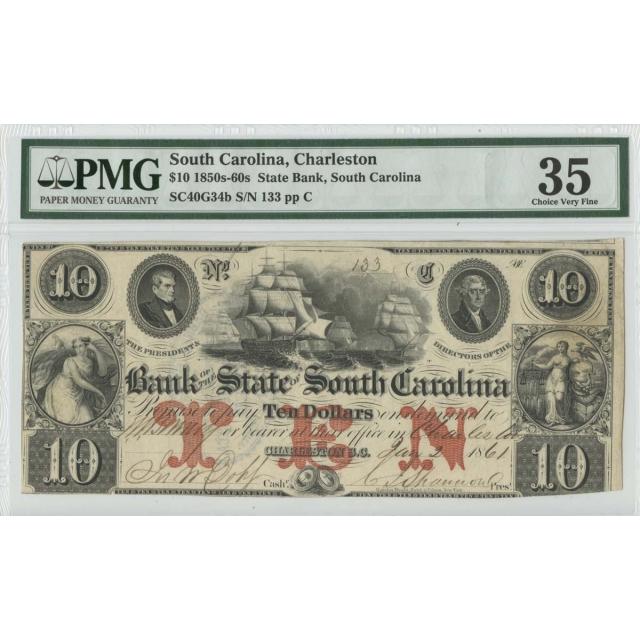 1850s 60s $10 State Bank PMG 35 Choice VF Charleston So Carolina
