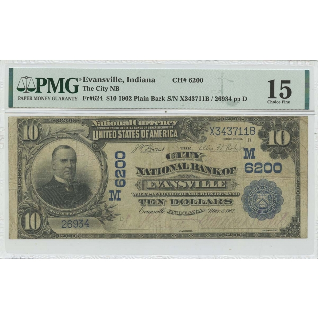 1902 $10 The City NB Evansville Indiana FR#624 PMG F15