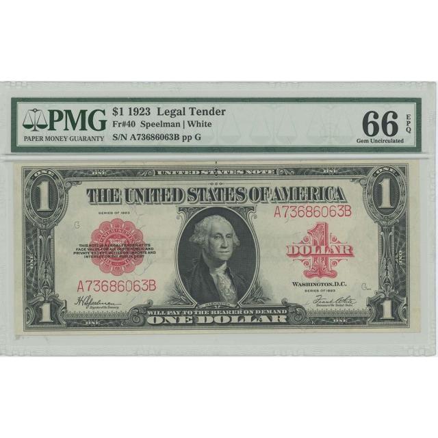 1923 $1 Legal Tender FR#40 PMG GEM 66 EPQ