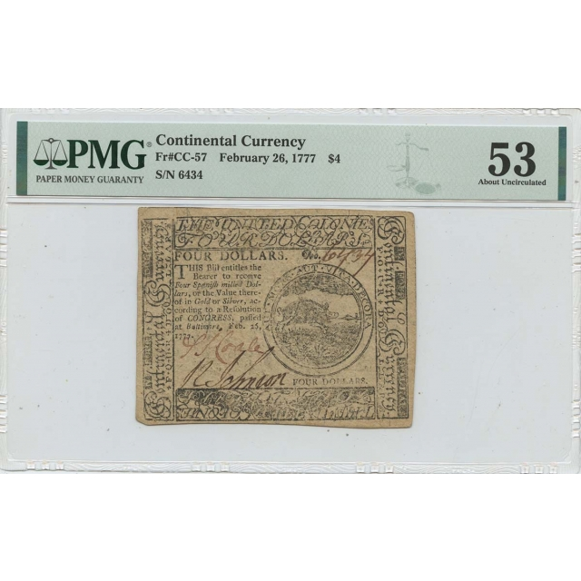 1777 February 26 $4 Continental Currency CC-57 PMG AU53