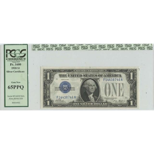 1928 $1 Silver Certificate FR# 1600 PCGS 65 PPQ Gem New