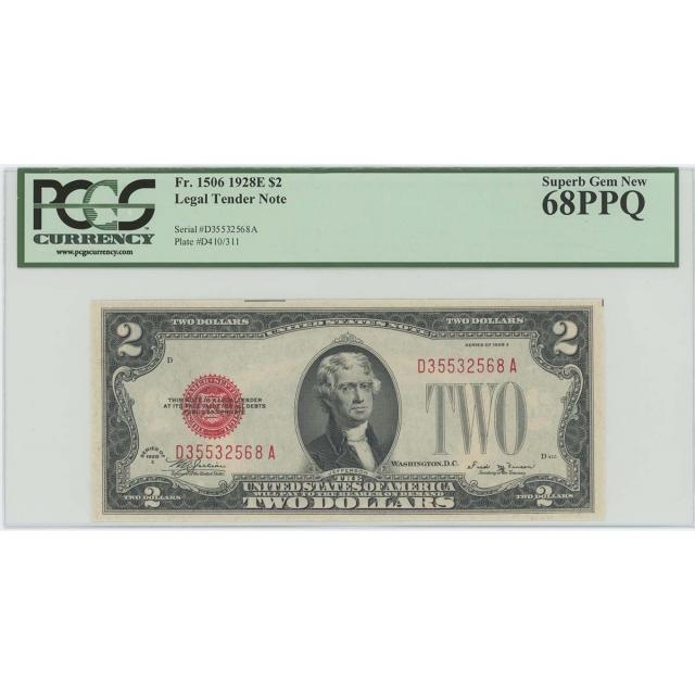 1928E $2 Legal Tender FR#1506 PCGS 68 PPQ Superb Gem