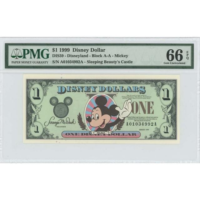 1999 $1 Disney Dollar DIS78 PMG 66 EPQ Sleeping Beauty's Castle