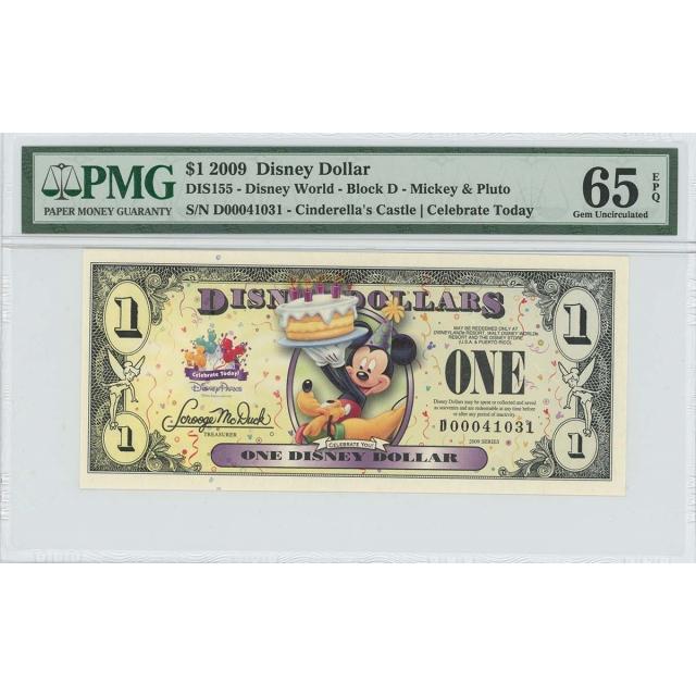 2009 $1 Disney Dollar DIS155 PMG 65 EPQ Cinderella's Castle