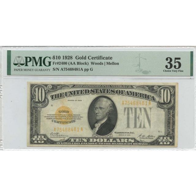 1928 $10 Gold Certificate Gold Woods Mellon Fr# 2400 PMG CH VF35