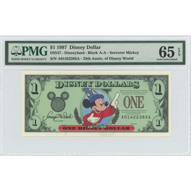 1997 $1 Disney Dollar DIS47 PMG 65 EPQ Fantasia