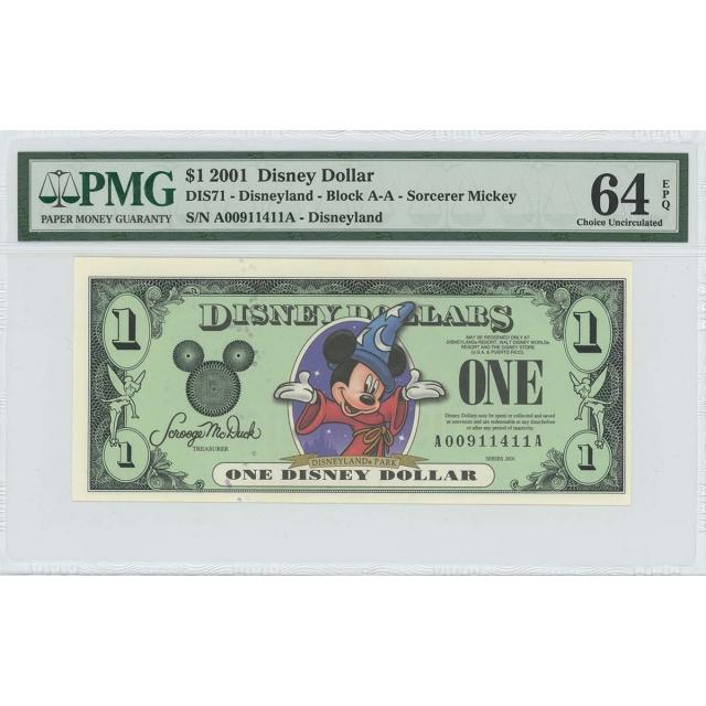 2001 $1 Disney Dollar DIS71 PMG 64 EPQ Fantasia