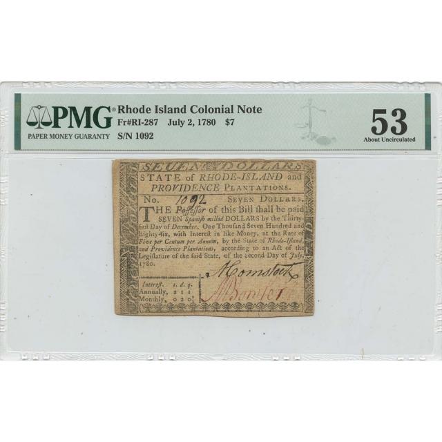 1780 July 2 $7 Rhode Island Colonial Note RI-287 PMG AU53 Issued