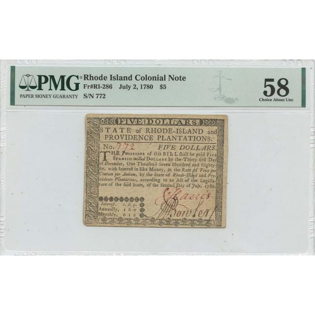 1780 July 2 $5 Rhode Island Colonial Note RI-286 PMG AU58 Issued