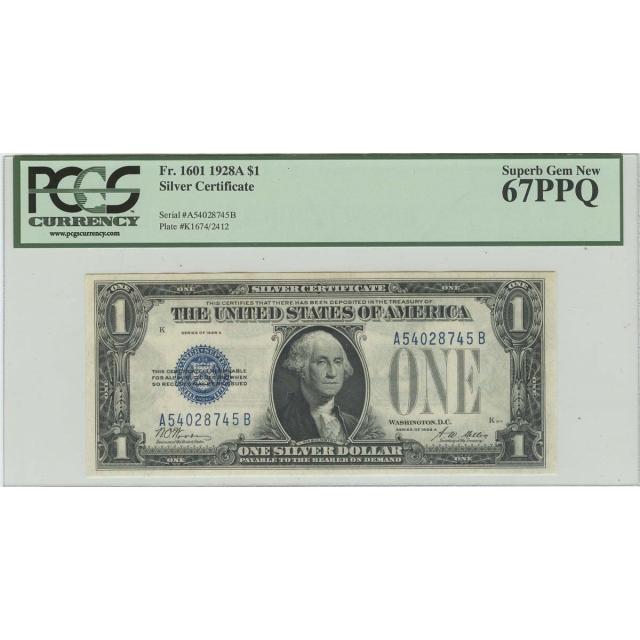 1928A $1 Silver Certificate FR#1601 PCGS 67 PPQ Superb Gem New