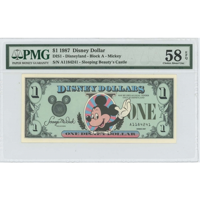 1987 $1 Disney Dollar DIS1 PMG 58 EPQ