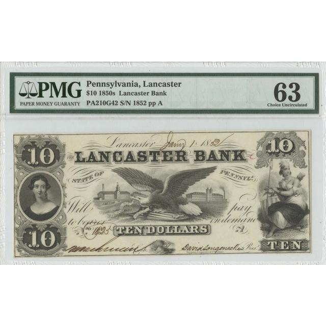 1850s $10 Pennsylvania Lancaster Haxby OBSPA210G42 PMG 63