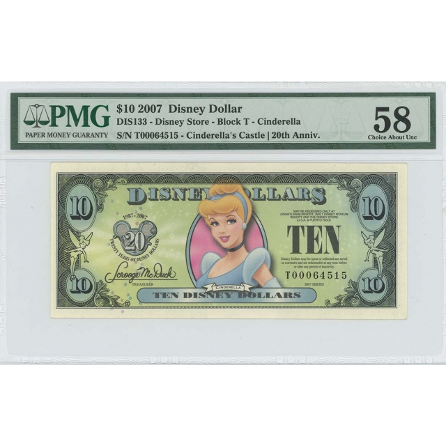 2007 $10 Disney Dollar DIS133 PMG 58 EPQ